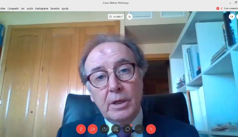 Martín Sellés, presidente de Farmaindustria, durante la videoconferencia.