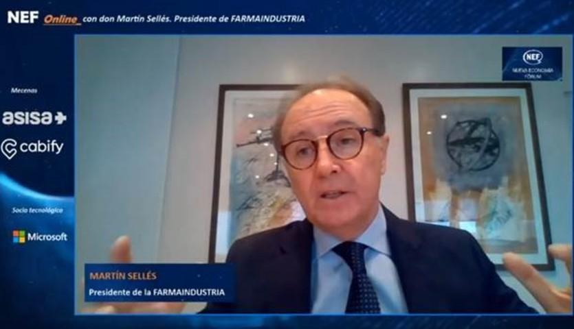 Martín Sellés, presidente de Farmaindustria, en su intervención en el Nueva Economía Fórum
